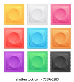 Realistic 3d Detailed Color Condoms Package Set Contraception Method for Prevention Pregnancy. Vector illustration of Various Colorful Condom