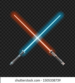 Realistic 3d Detailed Color Jedi Knights Cross on a Transparent Background. Vector illustration of Two Crossed Light Sword