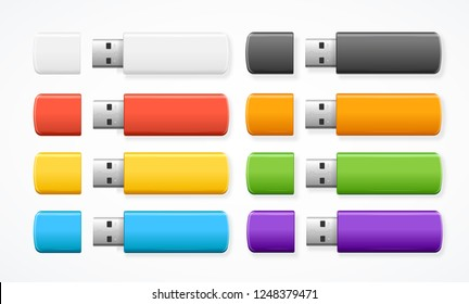 Realistic 3d Detailed Color USB Flash Drive Set. Vector illustration of Portable Device for Transfer and Storage Data