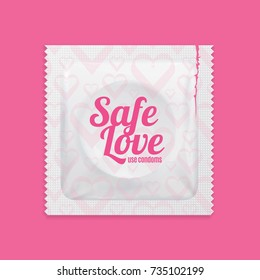 Realistic 3d Detailed Condoms Package Safe Love Concept Contraception Method for Protection Sex on a Pink Background. Vector illustration