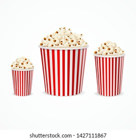 Realistic 3d Detailed Corn Buckets Set Different Size Big, Middl and Small Popcorn Bucket. Vector illustration of Movie Food