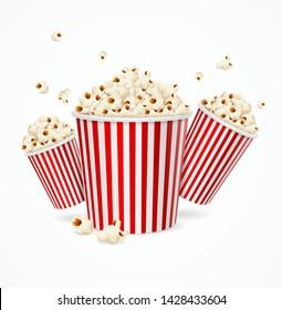 Realistic 3d Detailed Corn Buckets Set on a White. Vector illustration Popcorn Bucket Symbol of Cinema Snack