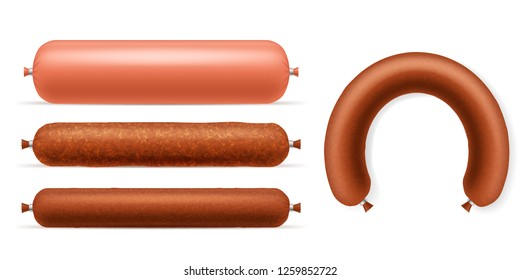 Realistic 3d Detailed Different Type Sausages Set Product of Meat Beef or Pork. Vector illustration of Sausage