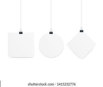 Realistic 3d Detailed Different Types Shape Hanger Dangler Or Banner Empty Template Paper Sheets for Presentation. Vector illustration