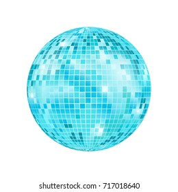 Realistic 3D Detailed Disco Ball Night Club or Party Light Element Mirrorball for Decorating. Vector illustration of Blue Discoball