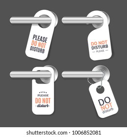 Realistic 3d Detailed Do Not Disturb Sign and Door Handle Set Design Concept Room Service for Hotel Warning Message. Vector illustration