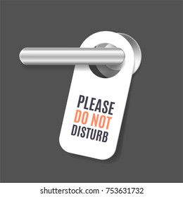 Realistic 3d Detailed Do Not Disturb Sign and Door Handle Design Concept Room Service for Hotel Warning Message. Vector illustration