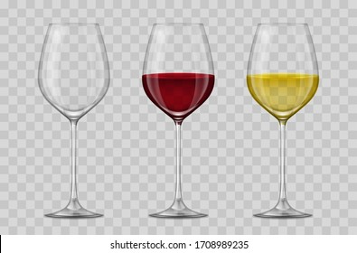Realistic 3d Detailed Empty, White and Red Wine Glass Set on a Transparent Background. Vector illustration