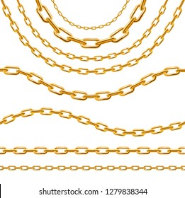 Realistic 3d Detailed Golden Chain Set Luxury Style Border or Frame Lines Types. Vector illustration of Framework