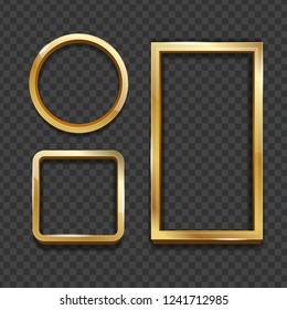 Realistic 3d Detailed Golden Frame Set on a Transparent Background Different Shape for Business. Vector illustration of Border