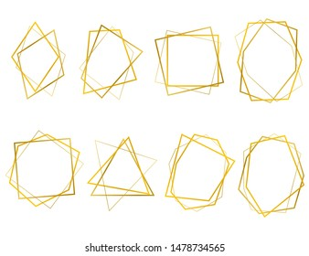 Realistic 3d Detailed Golden Polygonal Frames Thin Line Set for Invitation Decoration. Vector illustration of Geometric Frame