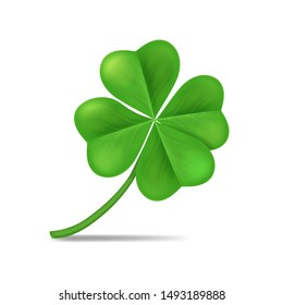 Realistic 3d Detailed Green Shamrock Leaf Isolated on a White Background Symbol of Celebration Irish Holiday. Vector illustration