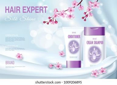 Realistic 3D detailed hair care cosmetic package silk textile. Product package mockup shiny fabric promotional ad poster template. Pearl light pink sakura cherry spring flower vector illustration