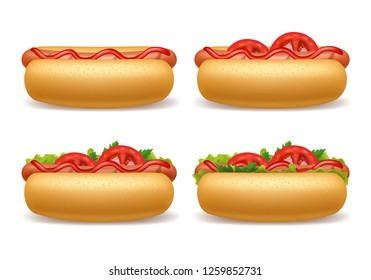 Realistic 3d Detailed Hot Dogs Different Set Fast Food with Sausage, Bread, Tomato and Ketchup. Vector illustration