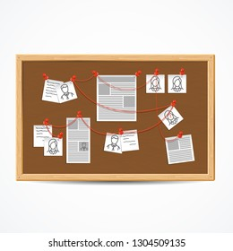 Realistic 3d Detailed Investigation Board or Detective Map with Pinned Photos and Note. Vector illustration of Plan Work