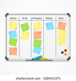 Realistic 3d Detailed Kanban Board with Color Sticky Notes and Markers for Management. Vector illustration of Whiteboard