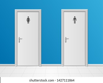 Realistic 3d Detailed Man and Woman Toilet Closet Public Restroom View. Vector illustration of Lavatory or WC
