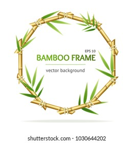 Realistic 3d Detailed Oriental Plant Bamboo Shoots Circle Frame for Promotion, Marketing and Advertising Place for Text. Vector illustration