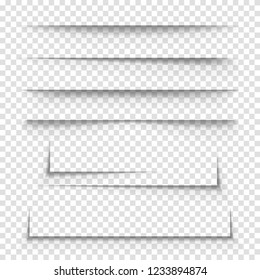 Realistic 3d Detailed Paper Shadow Effects Set on a Transparent Background for Advertising Banner. Vector illustration of Decor Element