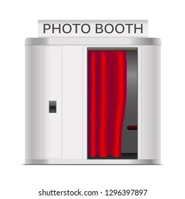 Realistic 3d Detailed Photo Booth Cabin with Red Curtain Service Fast Print Photograph. Vector illustration of Photography Machine