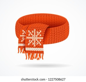 Realistic 3d Detailed Red Soft Winter Knitted Scarf with Snowflake Isolated on a White Background. Vector illustration