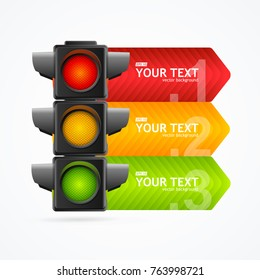 Realistic 3d Detailed Road Traffic Light Banner Card Symbol Of Safety Rules Web Design Element. Vector illustration of Stoplight