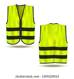 Realistic 3d Detailed Safety Vest with Tapes Set Front and Back View. Vector illustration of Protective Uniform