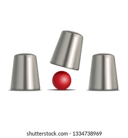 Realistic 3d Detailed Shell Game Set Trick, Gambling and Magic Concept Symbol of Leisure. Vector illustration of Thimble