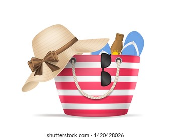 Realistic 3d Detailed Striped Beach Bag Include of Sunglasses, Hat, Sandal and Suncream Summer Concept. Vector illustration