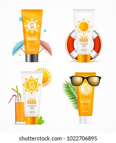 Realistic 3d Detailed Sunscreen Set Different Types Isolated on White Background Holiday and Summer Travel Concept. Vector illustration