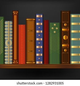 Realistic 3d Detailed Vintage Old Books on Wood Shelf Element Library or Bookcase with Retro Book. Vector illustration