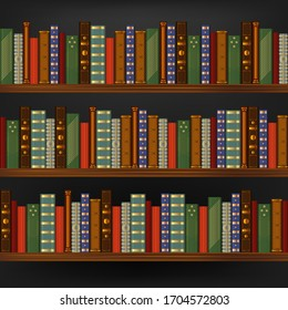 Realistic 3d Detailed Vintage Old Books in Wood Shelf Seamless Pattern Background Element Library or Bookcase with Retro Book. Vector illustration
