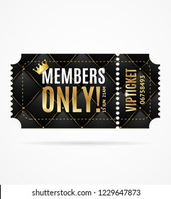Realistic 3d Detailed Vip Ticket Members Only with Black Quilted Pattern Background and Gold Thread. Vector illustration