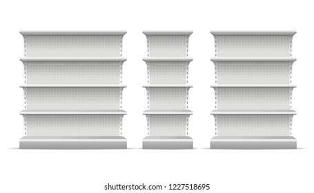 Realistic 3d Detailed White Blank Supermarket Shelves Empty Template Mockup Set. Vector illustration of Mock Up Shelve