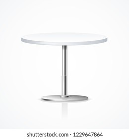 Realistic 3d Detailed White Blank One Leg Table Interior Restaurant Empty Template Mockup for Business. Vector illustration