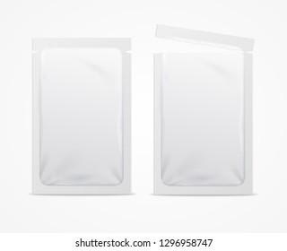 Realistic 3d Detailed White Blank Foil or Plastic Sachet Empty Template Mockup Set. Vector illustration of Mock Up Packaging