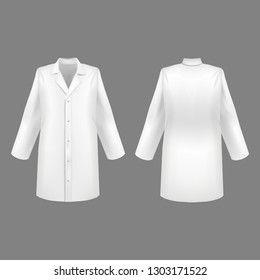 Realistic 3d Detailed White Blank Medical Lab Coat Set Empty Template Mockup Set on a Grey. Vector illustration