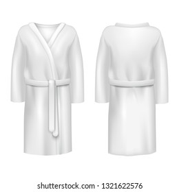 Realistic 3d Detailed White Blank Bathrobe Empty Template Mockup Set Textile Cotton for Spa and Bathroom. Vector illustration