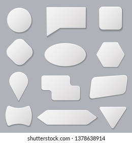 Realistic 3d Detailed White Blank Tags Stickers Empty Template Mockup Set and Place for Text. Vector illustration