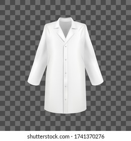 Realistic 3d Detailed White Blank Medical Lab Coat Empty Template Mockup on a Transparent Background . Vector illustration