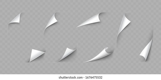 Realistic 3d Detailed White Curled Page Corner Set on a Transparent Background. Vector illustration of Decorative Elements