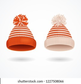 Realistic 3d Detailed Winter Hat with Pompons Set Seasonal Accessory Handmade Style. Vector illustration of Knitted Cap