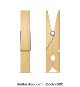 Realistic 3d Detailed Wooden Clothes Peg Set for Laundry and House Side and Front View. Vector illustration of Clothespin