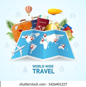 Realistic 3d Detailed World Wide Travel Concept Card Include of Map, Suitcase, Passport, Air Balloon and Ticket. Vector illustration