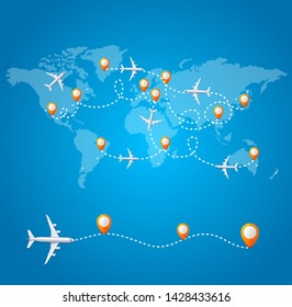 Realistic 3d Detailed World Wide Travel Concept Card with Airplane, World Map and Red Pins on a Blue Background. Vector illustration