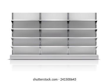 Realistic 3d empty supermarket shelf isolated on white background vector illustration