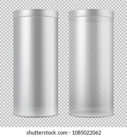 Realistic 3d empty transparent glass jar and and white can with lid. Package for food, cookies and gifts vector template isolated. Container object design isolated on translucent illustration