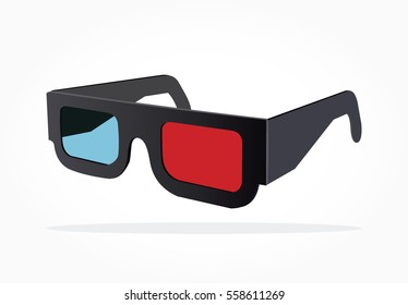 realistic 3d eye glasses illustration from side view with shadow effect