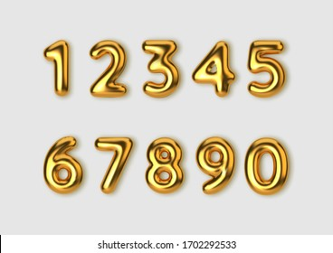 Realistic 3d font gold numbers. Number in the form of golden balloons.  Vector illustration