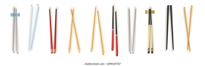 Realistic 3d Food Chopsticks Set Different Types. Vector illustration of Traditional Asian Bamboo Utensils Color Chopstick. Vector illustration 10 eps.